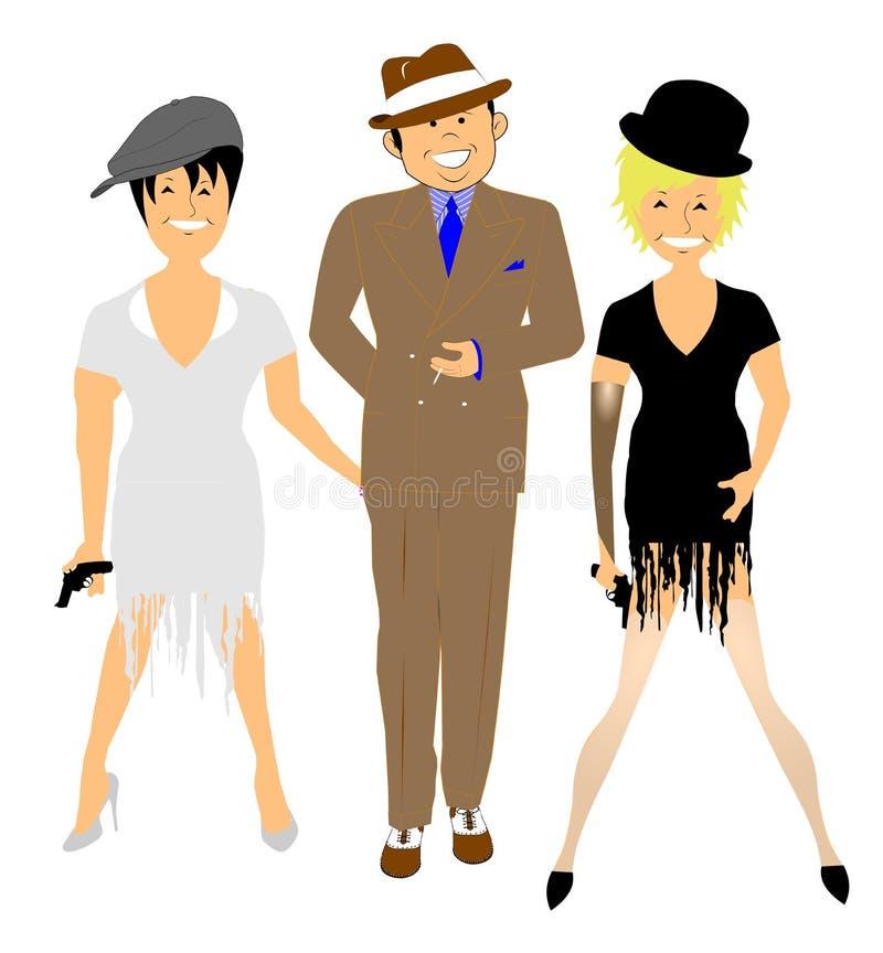 Danseurs dans le costume de l'époque illustration stock