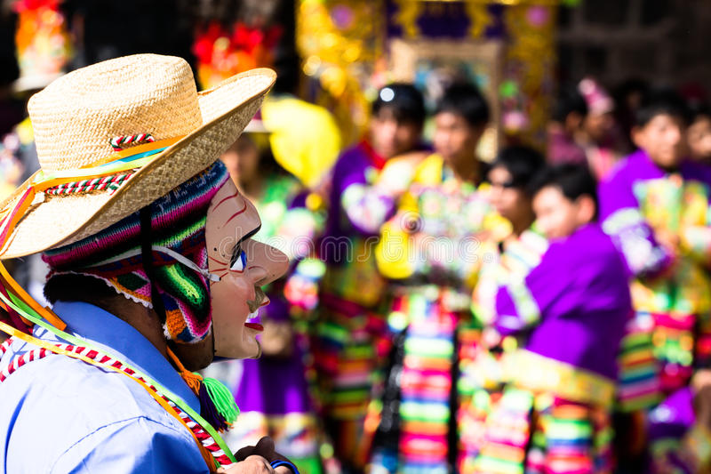 Danseurs péruviens au défilé dans Cusco. photographie stock