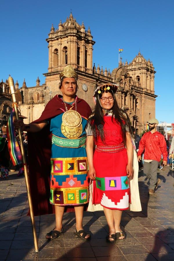 Danseurs péruviens en tenue traditionnelle à la Fiesta del Cusco, 2019 photos libres de droits