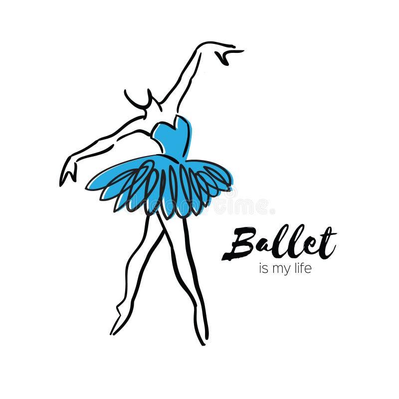 Danseuse bleue de ballerine Le ballet est ma vie tirée par la main Fuselage parfait Le danseur porte Femelle dans le tutu posant  illustration stock
