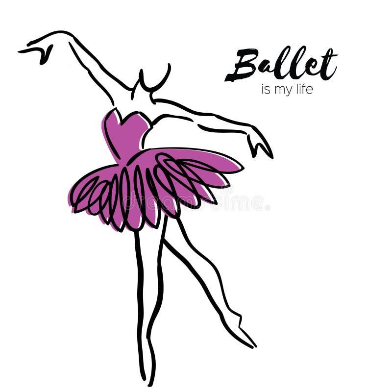 Danseuse pourpre de ballerine Le ballet est ma vie tirée par la main Fuselage parfait Le danseur porte Femelle dans le tutu posan illustration de vecteur