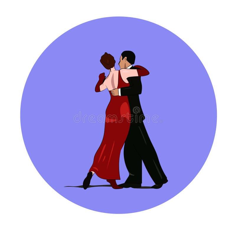 Dansez les paires dans le signe de vecteur d'isolement par passion de tango illustration de vecteur