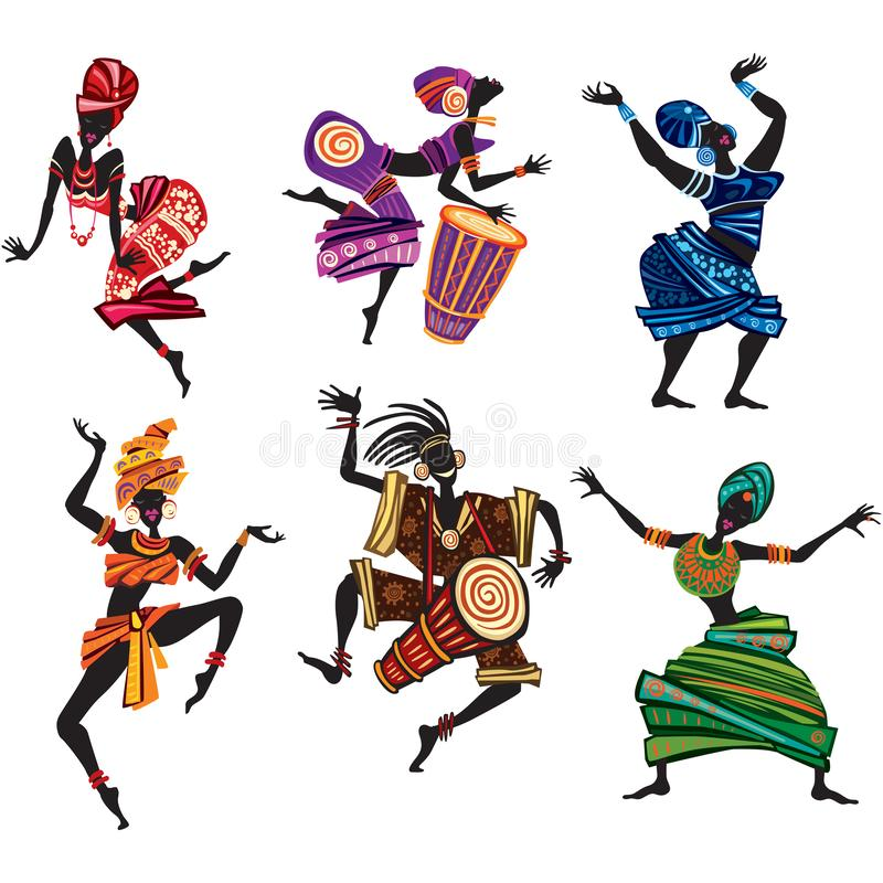 Dansfolk i traditionell etnisk stil stock illustrationer