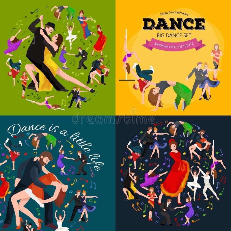Dansfolket, dansaren Bachata, Hiphop, salsa, indiern, balett, remsa, vaggar - och - rullar, bryter, flamenco, tango vektor illustrationer