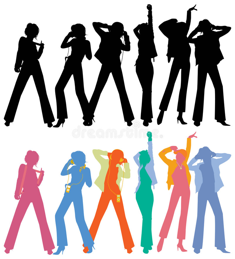 dansfolksilhouettes stock illustrationer