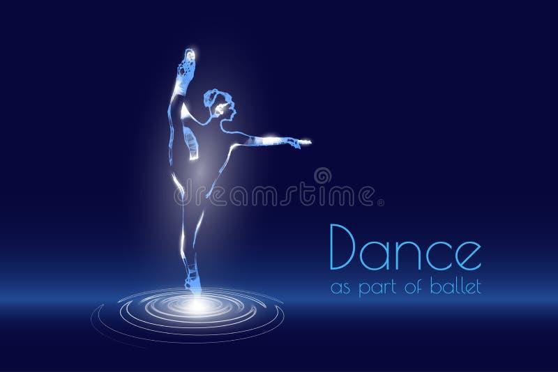 Danshologram holographic projektion av en flickadans Flimrande energihögvatten av partiklar Forskningdesign baletten stock illustrationer