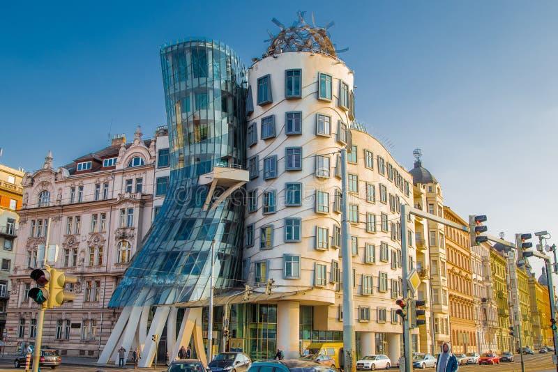 Danshuset i Prague, Tjeckien fotografering för bildbyråer