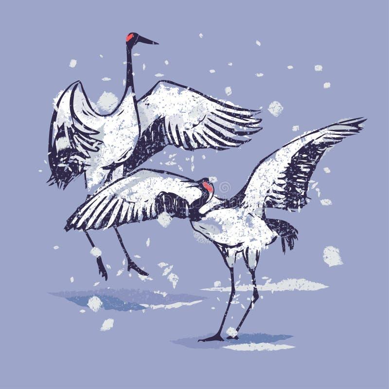 Dansjapankranar i snön vektor illustrationer