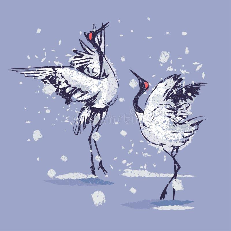 Dansjapankranar i snön royaltyfri illustrationer