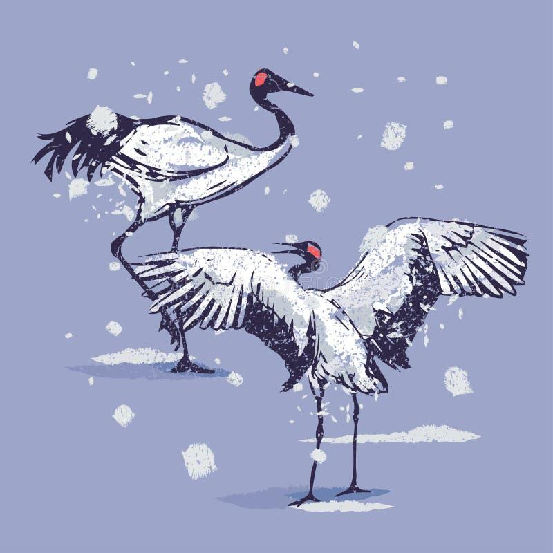 Dansjapankranar i snön stock illustrationer