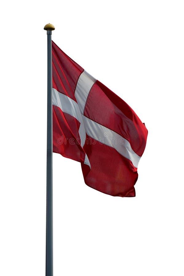 dansk flagga isolerad white royaltyfria foton