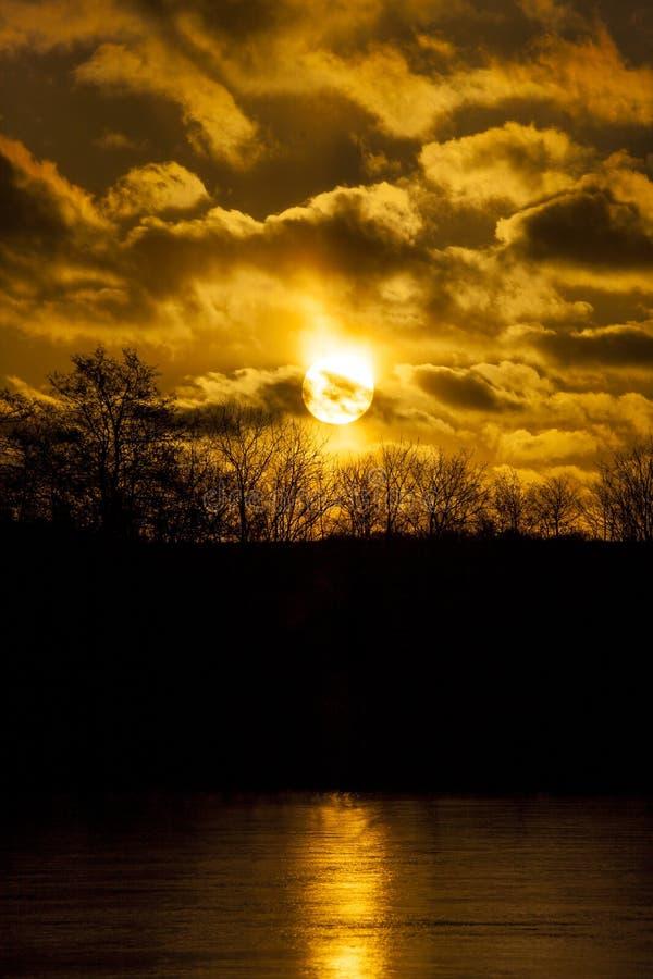 Dansk solnedgång ovanför en skog med dramatisk himmel arkivfoton