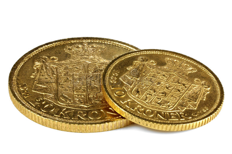 Danska guld- mynt royaltyfria bilder
