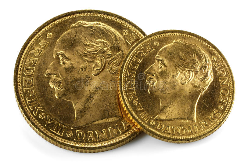 Danska guld- mynt royaltyfria foton