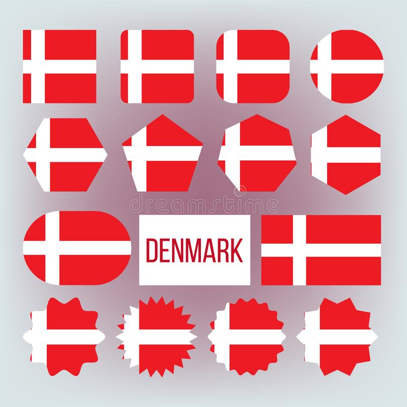 Danska nationella färger, uppsättning för gradbeteckningvektorsymboler stock illustrationer