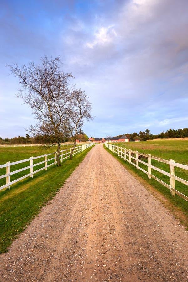 Danskalantgårdhus med staketet royaltyfria bilder