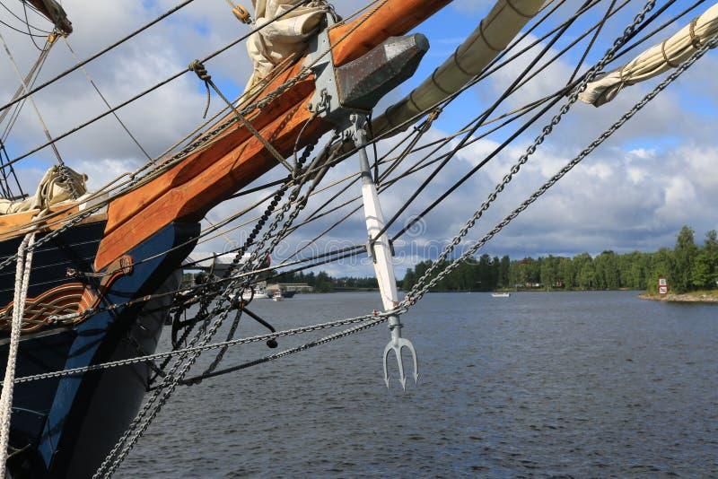 Danskan tre-masted skonaren Loa Pilbågeriggning arkivfoton