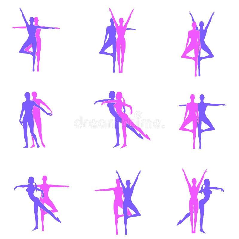 danskonditionen silhouettes yoga royaltyfri illustrationer