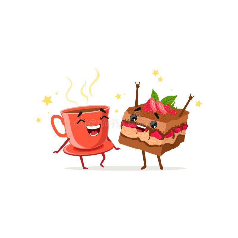 Danskopp kaffe och stycke av kakan med jordgubben Mat- och drinktecken som har gyckel Plan tecknad film för vektor vektor illustrationer