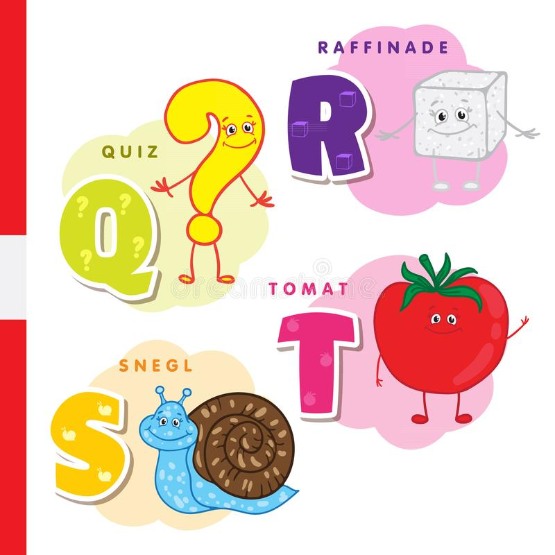 Danskt alfabet Fråga socker, snigel, tomat Vektorbokstäver och tecken stock illustrationer