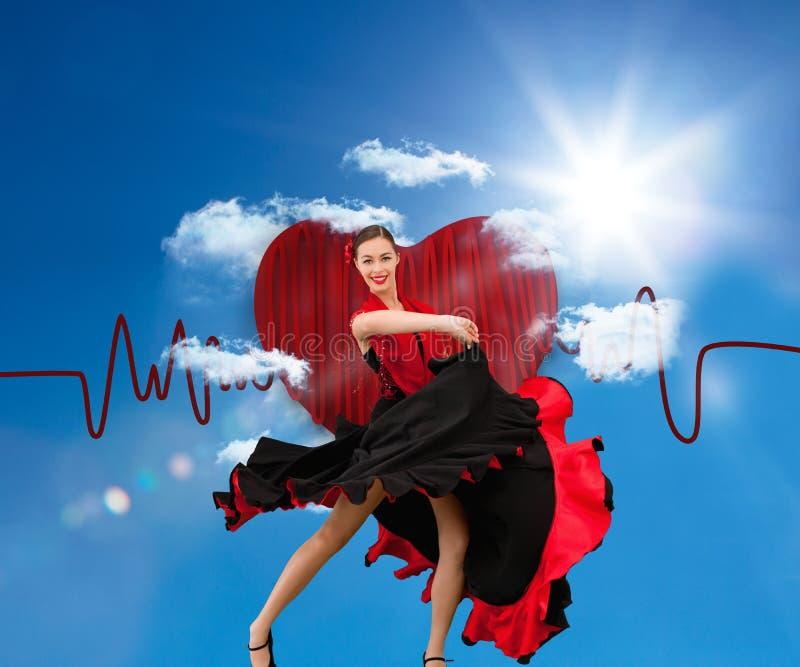 Danskvinna i en röd och svart klänning stock illustrationer