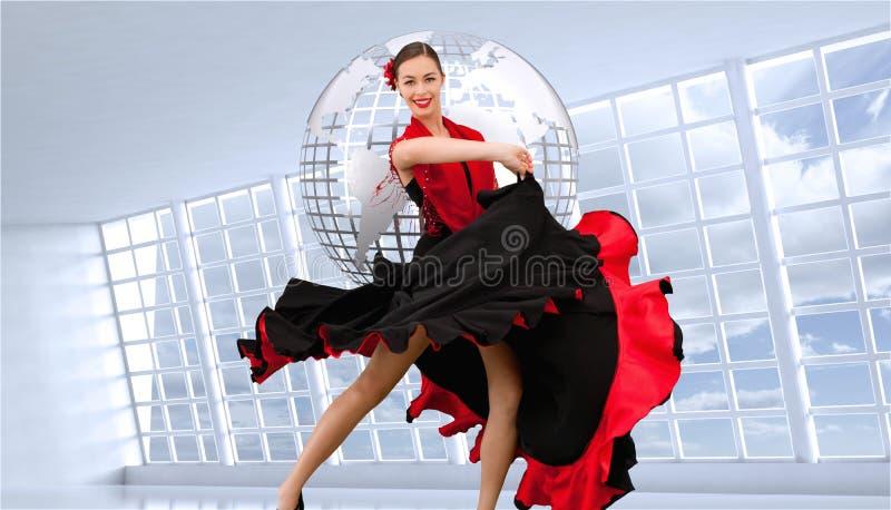 Danskvinna i en röd och svart klänning royaltyfri illustrationer
