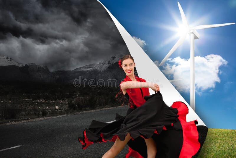 Danskvinna i en röd och svart klänning arkivbild