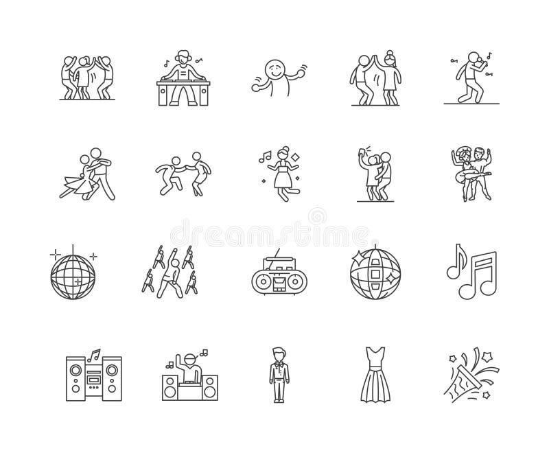 Danslinje symboler, tecken, vektoruppsättning, översiktsillustrationbegrepp royaltyfri illustrationer