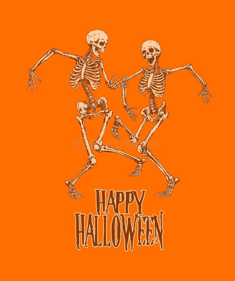 Dansskelett för halloween festar affischvektorillustrationen stock illustrationer