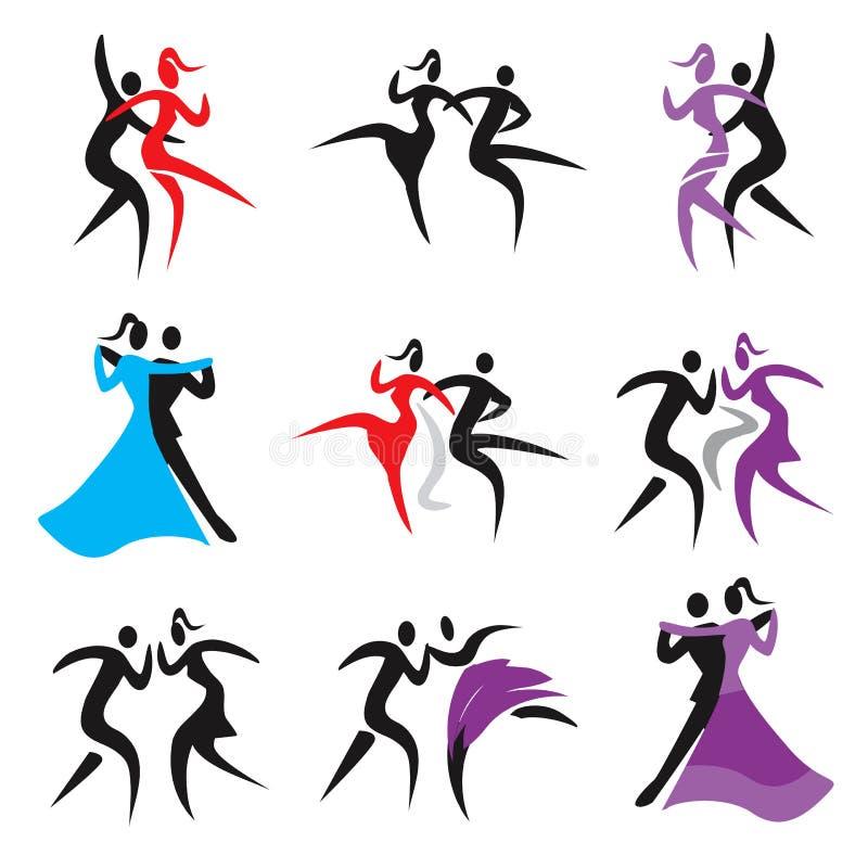 Danssymboler vektor illustrationer