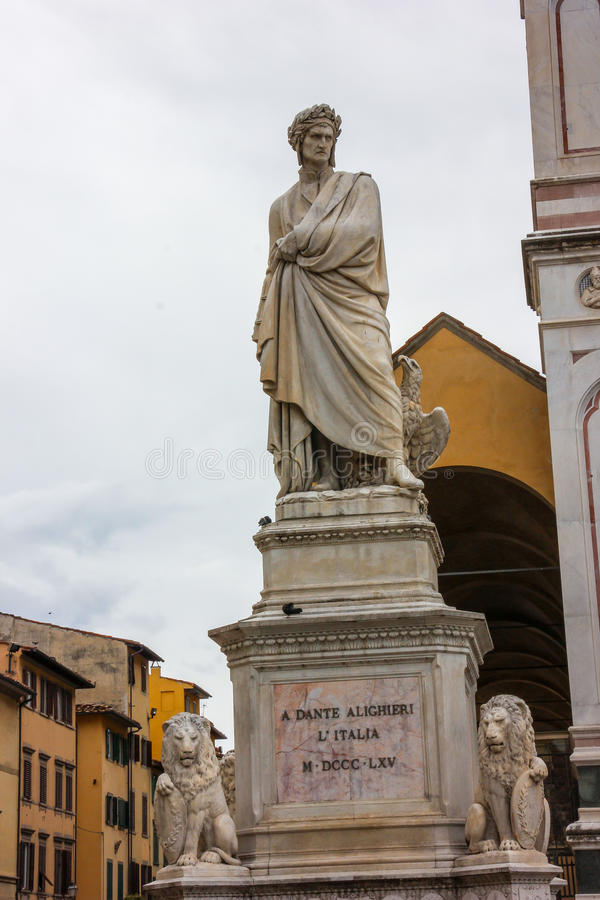 Dante雕象 免版税库存照片