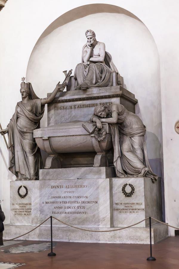 Dante Alighieri commemorativo in basilica Santa Croce immagine stock