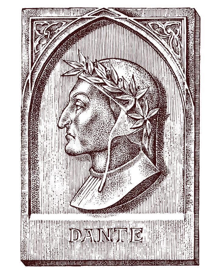 Dante Alighieri. Element for architecture, design on building for tattoo or t-shirt design. Symbol of science vector illustration
