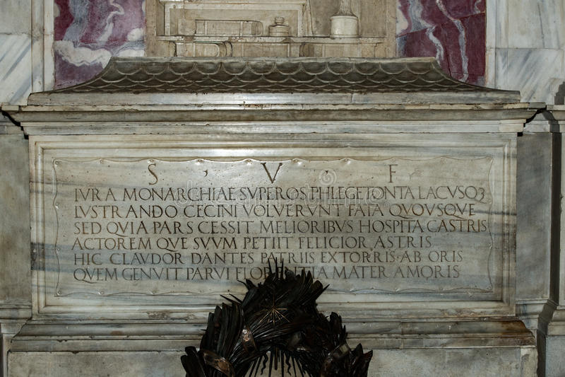 Dante Alighieri Italian poet tomb in Ravenna. View stock photo