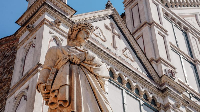 Dante Alighieri monument in Florence royalty free stock photo
