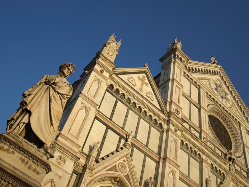 Dante Alighieri and Santa Croce church stock photo