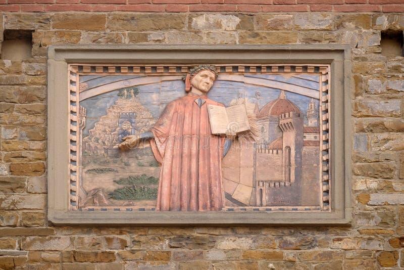 Dante Alighieri, Societa Dante Alighieri Cultural Society Building in Florence stock afbeelding