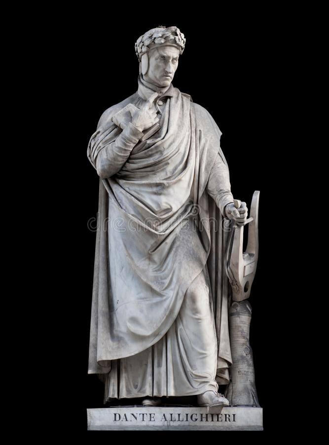 Dante Alighieri statue, on black background. Dante Alighieri statue, by Paolo Emilio Demi, 1840. It is located in the Uffizi courtyard, in Florence royalty free stock image