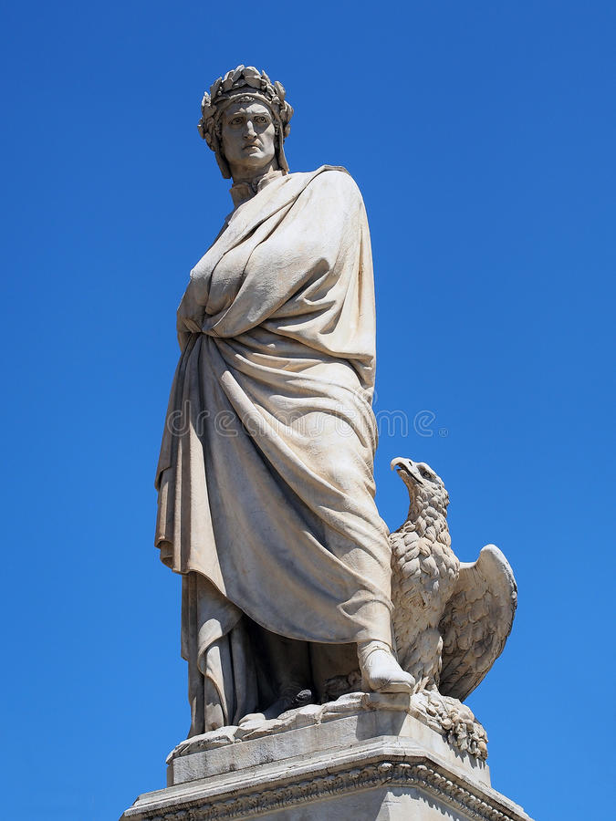 Dante Alighieri Statue, Florencia, Italia imagen de archivo libre de regalías