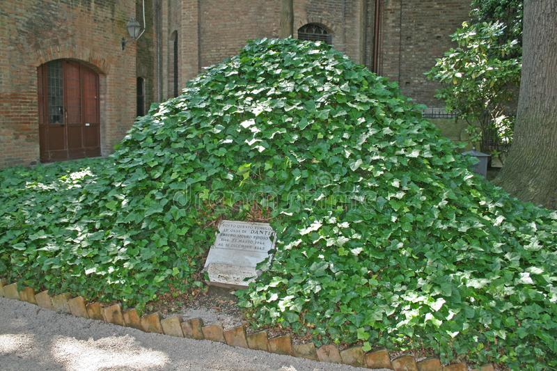 The dante grave. The mound tomb of the famous italian poet dante at ravenna in italy stock photo