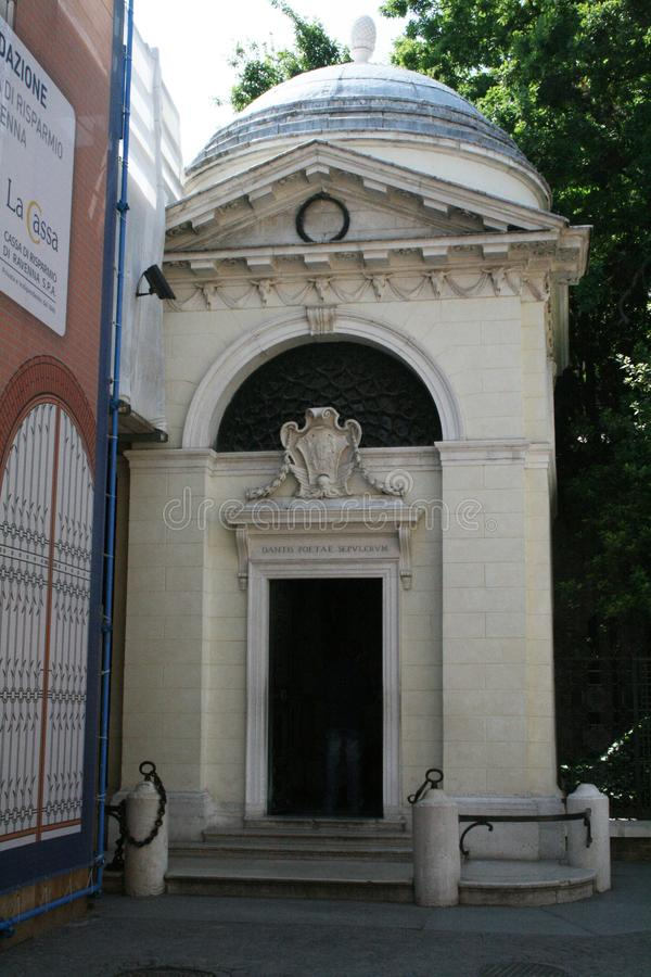 Dante mausoleum. The historic tomb of the famous italian poet dante at ravenna in italy stock photography