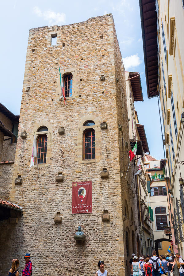 Dante Museum in Florence, Italy. Florence, Italy - July 04, 2016: Dante Museum with unidentified people. The Casa di Dante is a 3-floor museum which, with stock photo