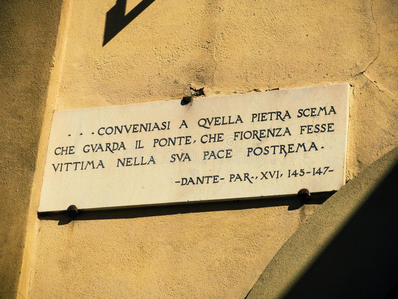 Download Dante quote stock photo. Image of vecchio, mark, ponte - 30560650