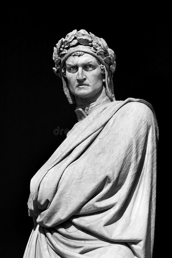 Dante's sculpture. Sculpture of Dante Alighieri in Florence stock photography