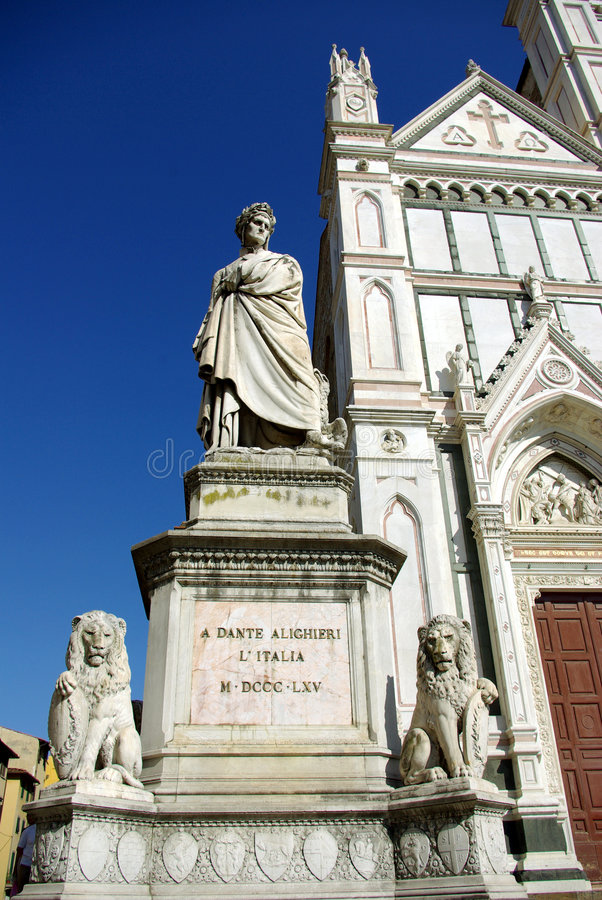 Dante's statue, Florence. Dante Alighieri's statue, in front to Basilica di Santa Croce, Florence (Firenze), Italy. Inside to Basilica is Michelangelo's tomb stock images