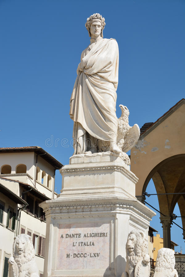 Dante's statue in Florence stock photography