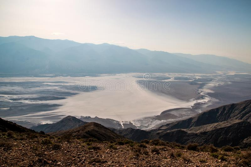 Scenic view from the viewpoint of Dante`s View, Dramatic landscape of southern Death Valley basin and Devil`s Golf Course stock image