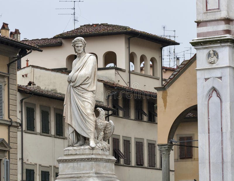 Dante statue in Florence, Italy. Dante statue in front of Basilica di Santa Croce or Basilica of the Holy Cross, principal Franciscan church in Florence, Italy stock images