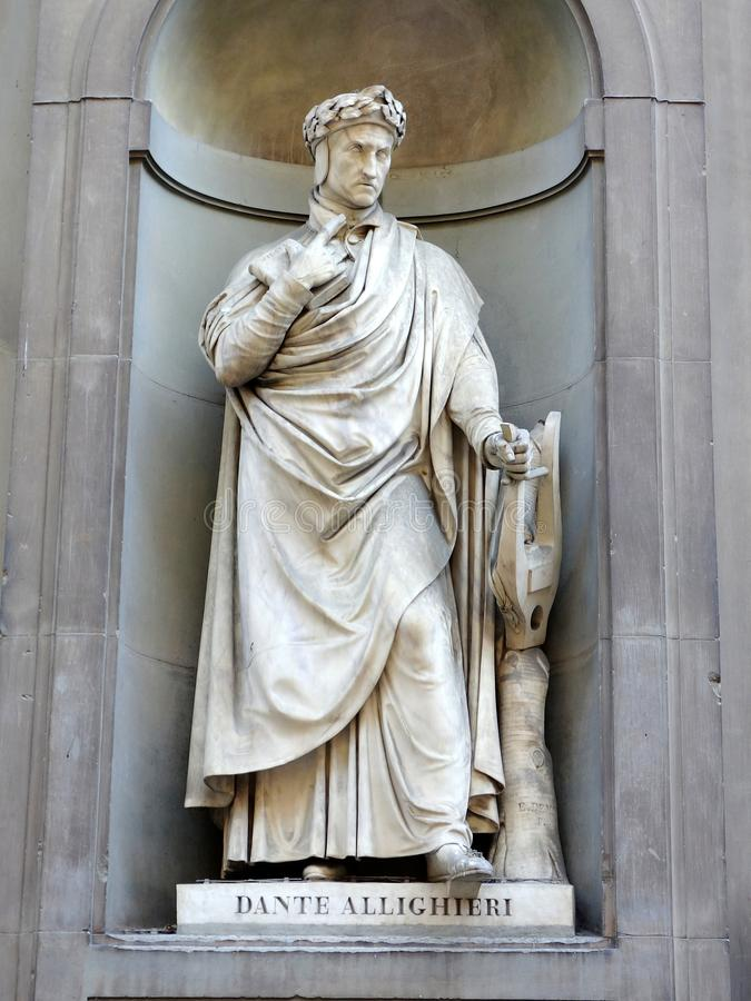 Dante Statue. Statue of Florentine poet Dante, outside the Ufizzi gallery, Florence, Italy royalty free stock photos