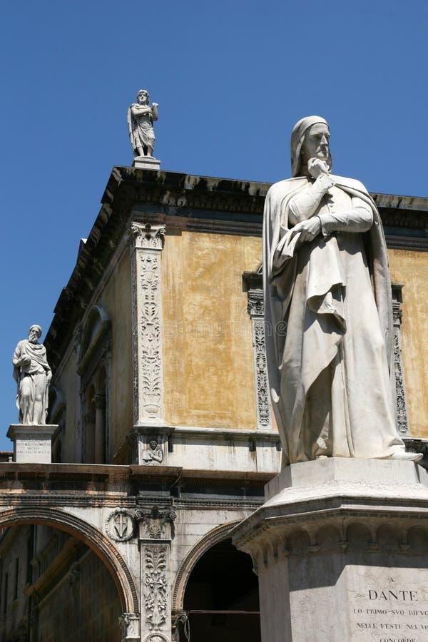 Dante statue, Verona. View of Verona - Dante statue - Piazza dei Signori royalty free stock photos